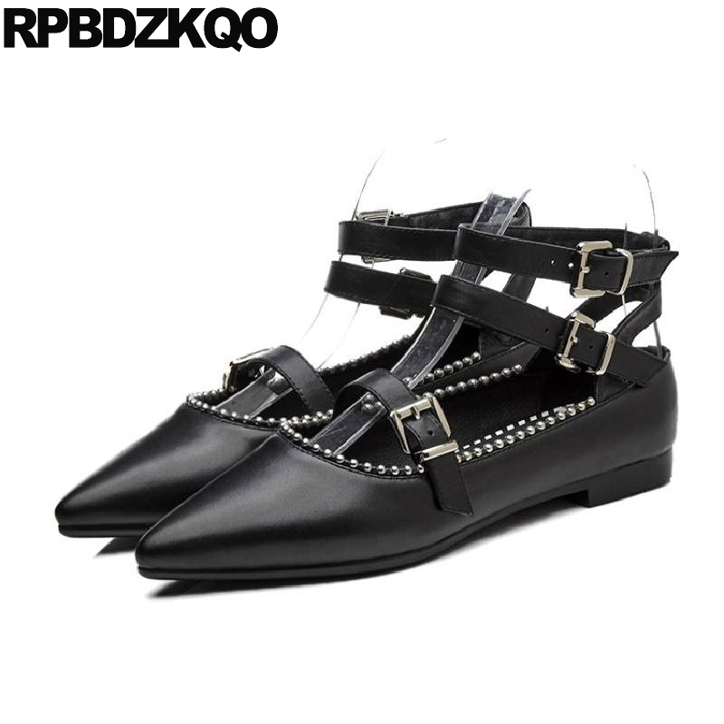 Beaded Pointed Toe Black Designer Shoes Women Luxury 2018 High Quality Ankle Strap Chinese Metal Ladies Flats Mary Jane Stud nude designer famous brand shoes high quality patent leather mary jane pointed toe flats low heel ballet ladies black ballerina