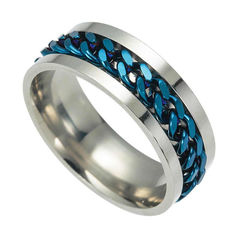 טיטניום פלדת גברים שחור טבעות שרשרת זכר זהב צבעוני טבעת גותי זוג כסף טבעת עבור נשים תכשיטים סיטונאי
