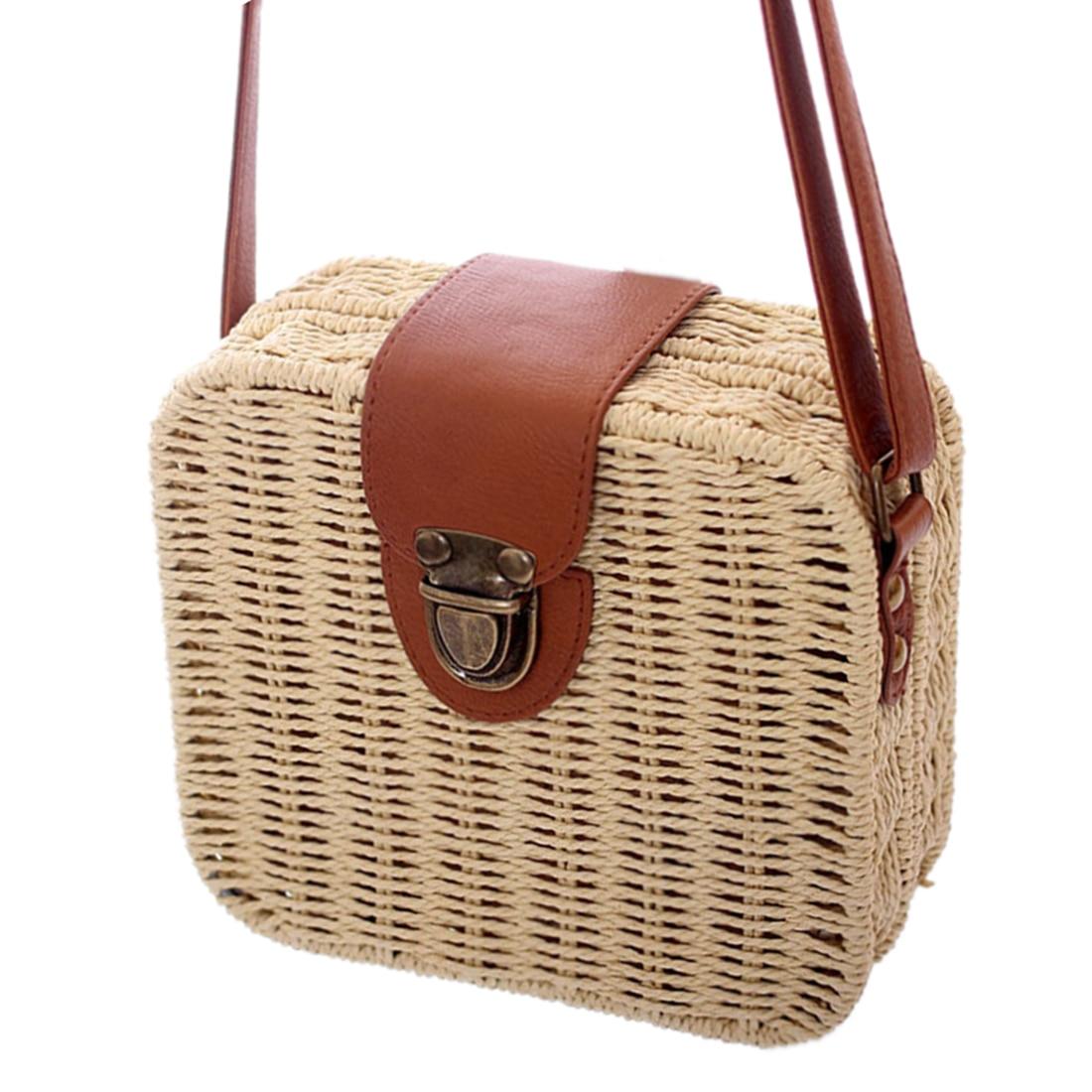 Aresland Women Bag Candy Color Square Straw Bag Small Single-Shoulder Bags Crossbody Women Handbag Beach Bolsas