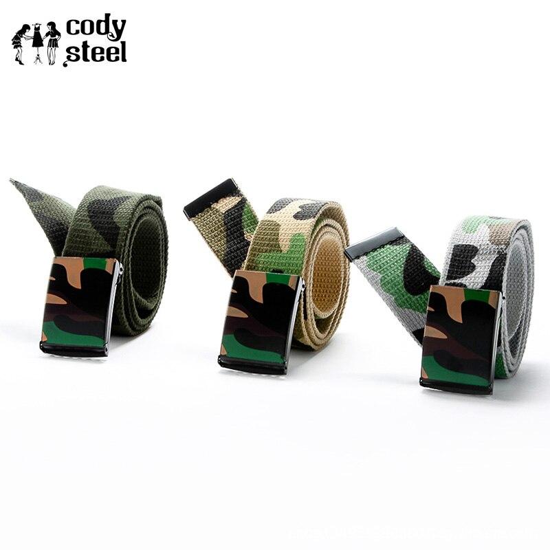 Cody Steel Hot Male Fashion Belt Boy Army Camouflage Waist Belt Smooth Buckle Strap Drop Belt Canvas Men