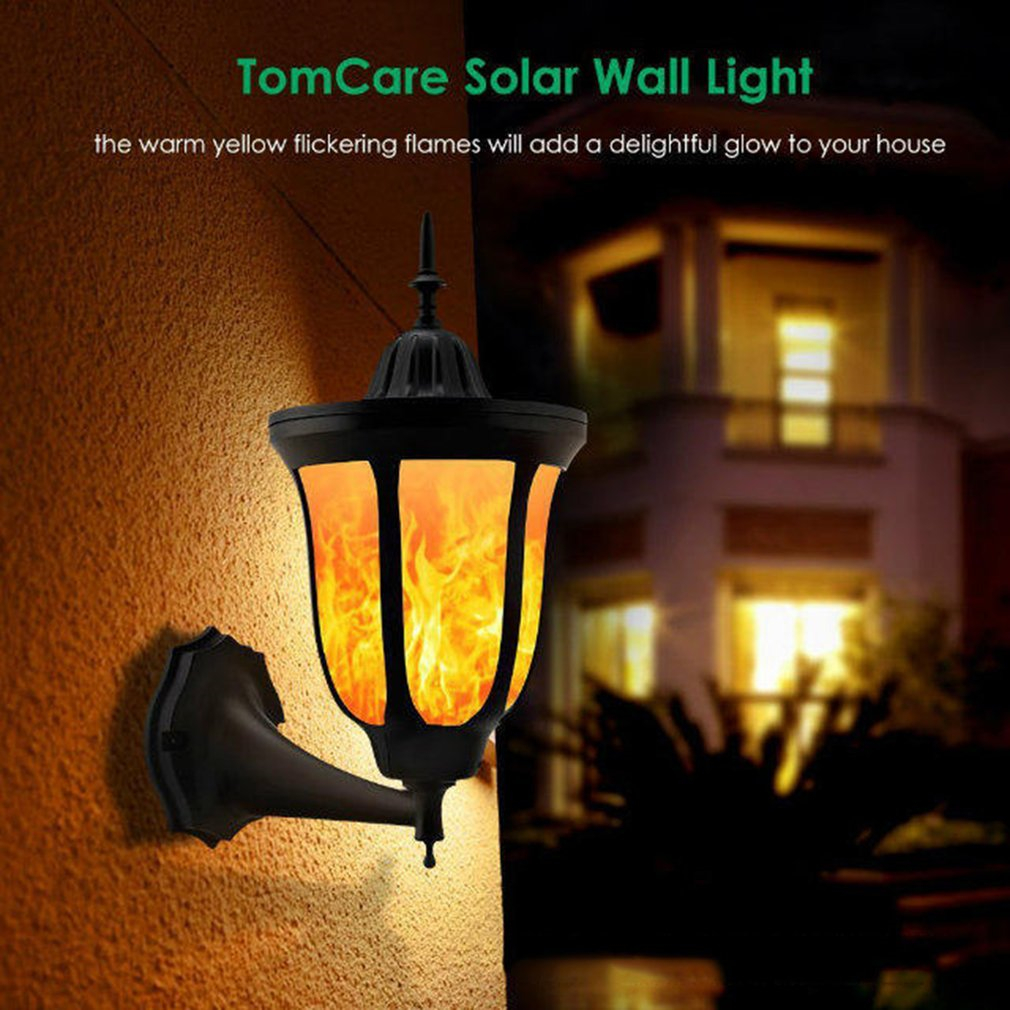 ICOCO 96 LEDs Solar Flame Flickering LED Wall Lamp Waterproof IP65 LED Torch Light for G ...