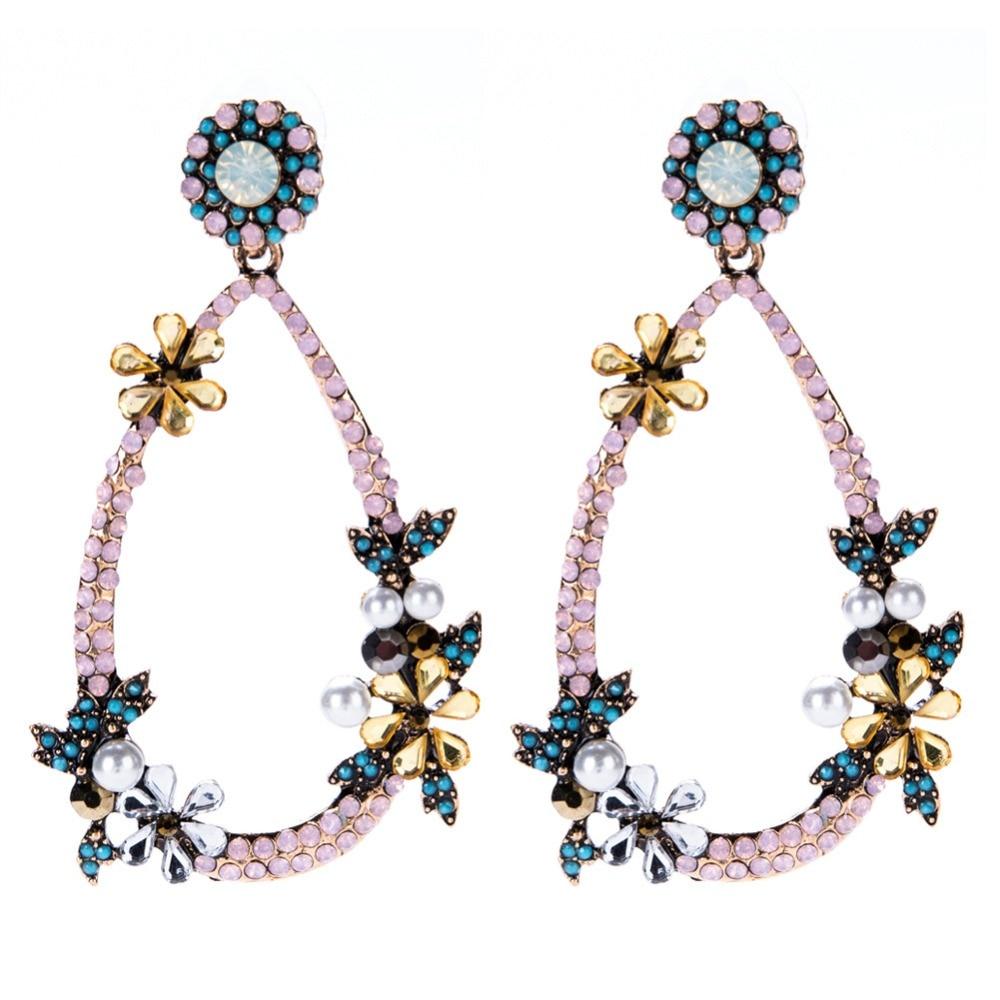 JewelryLove Bib Fashion Multicolor Flower Crystal Statement Necklaces