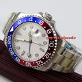 43 мм bliger стерильный белый циферблат синий световой GMT сапфировое стекло автоматические мужские часы 356
