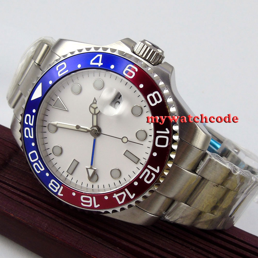 43mm bliger sterile white dial blue luminous GMT sapphire glass automatic mens watch 35643mm bliger sterile white dial blue luminous GMT sapphire glass automatic mens watch 356