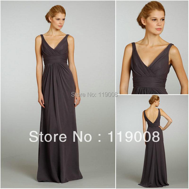 Modest v neckline shoulder straps floor length wedding for Long wedding guest dresses