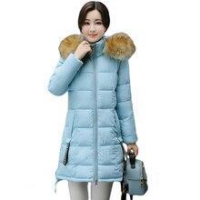 2017 г. Новые Элегантные зимняя куртка женские Меха парка с капюшоном длинные пальто с хлопковой подкладкой зимние пальто женщин jaqueta feminina Inverno CM1532