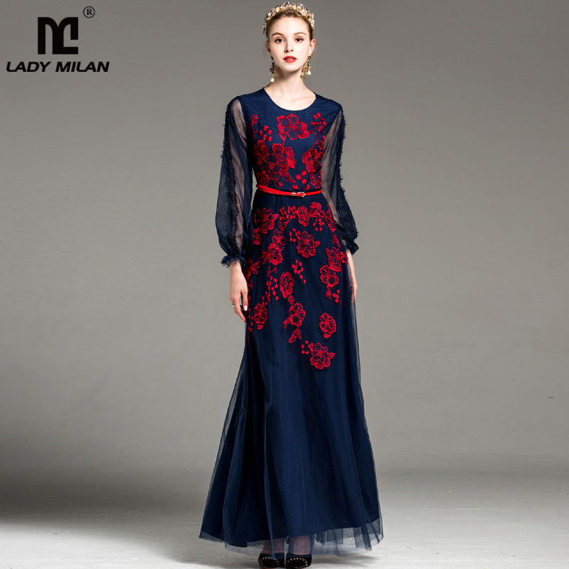 New Arrival Womens O Neck Long Sleeves Embroidery Floor Length Party Prom Elegant A Line Fashion Long Runway Dresses