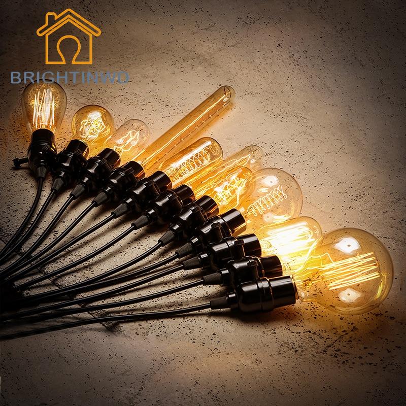BRIGHTINWD 220V Retro Lamp E27 Edison Light Bulb 40W Vintage Incandescent Lamp Decorative Carbon Filament Bulb DIY Pendant Light