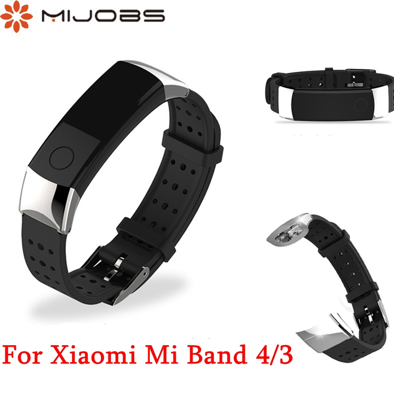 Mijobs Mi Band 4/3 Wrist Strap For Huawei Honor Band 4 3 Replace Accessories Band Stainless Steel Buckle Smart Bracelet Strap