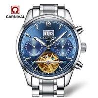 카니발 뚜르 비옹 자동 기계 남성 시계 스위스 럭셔리 브랜드 사파이어 방수 스켈레톤 다기능 시계