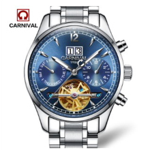 лучшая цена Carnival fully-automatic mechanical watch fashion cutout watch male waterproof luminous multifunctional table stainless steel