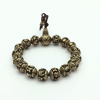 Vintage Tibetan Buddhism Brass Silver Plated Charm Rope Bracelet For Men Six Words Mantras Mala Yoga