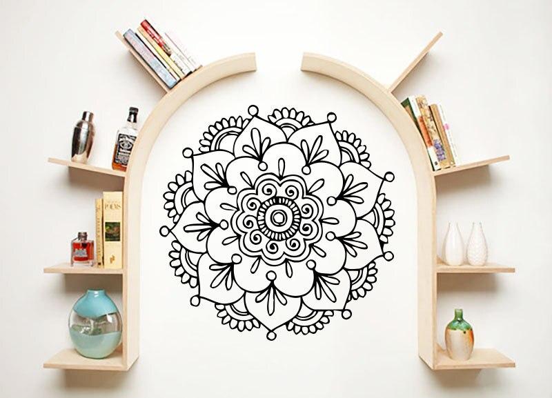 Special Mandala Flower Wall Decal Modern Design Home Decoration Vinyl Wall Stickers Lotus Flower Moroccan Yoga Studio DIY SYY710