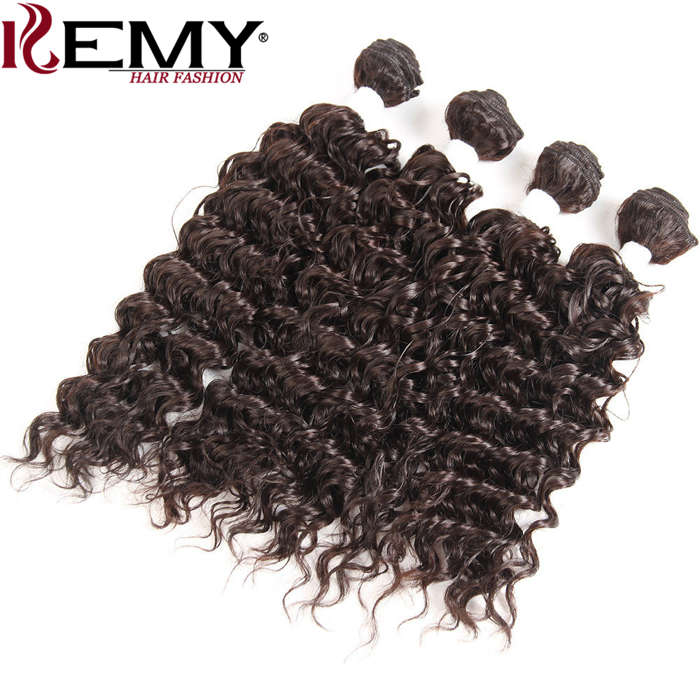 "KEMY HAIR Heat Resistant Synthetic Hair Weave Bundles 16""16""18""18"" Medium Brown4# Loose Deep Synthetic Hair Extension 4Pcs/Pack"