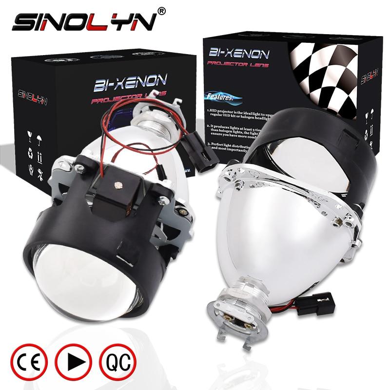 SINOLYN Car Styling LHD RHD Retrofit WST Mini HID H1 2.5 inch Bi-xenon Projector Lens Headlight lenses fits H4 H7,Use H1 Bulb 2 5 rhd lhd car motor bi xenon for hid projector halo lens angle eye headlights bulb shroud h1 h4 h7
