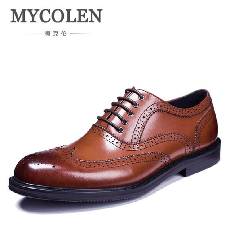 MYCOLEN Brogues Oxfords Genuine Leather Breathable Handmade Men Shoe British Fashion Luxury Cowhide Breathable Shoes