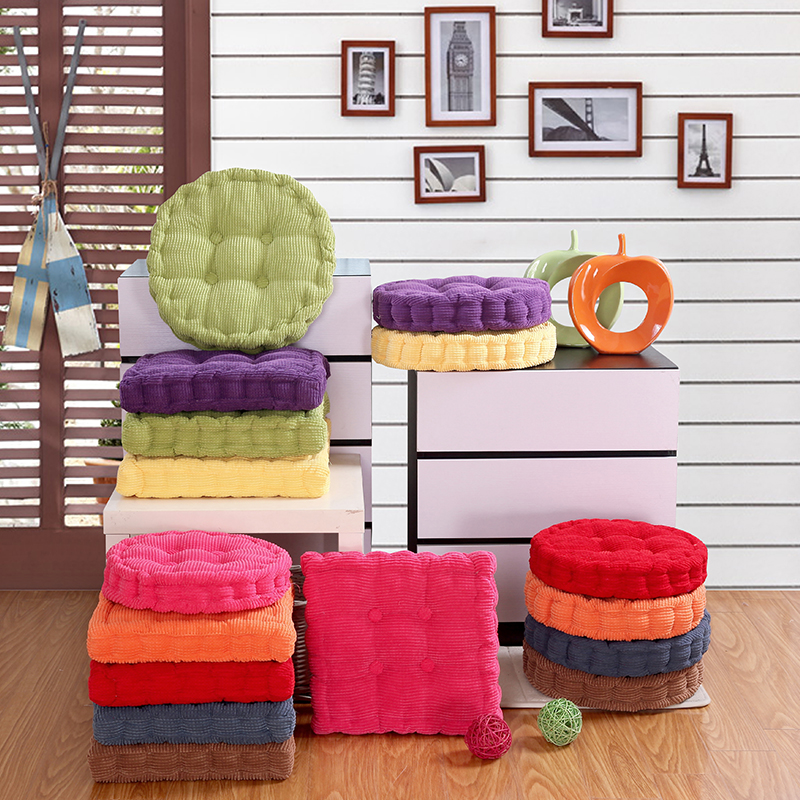 High Quality Thick 100% Corduroy Elastic Chair Cushions For Kitchen Chair Solid Color Seat Cushion Square Floor Cushions Memory