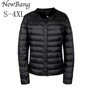 Image 2 - NewBang מותג למטה מעיל נשי קל במיוחד למטה מעיל נשים דק דק מעיל רוח ללא צווארון מעיל קל משקל חם מעיילי