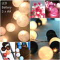 total 40 color series, Battery Operated LED  thai style Cotton Ball String Lights Fairy ,wedding xmas, Christmas Patio Decor