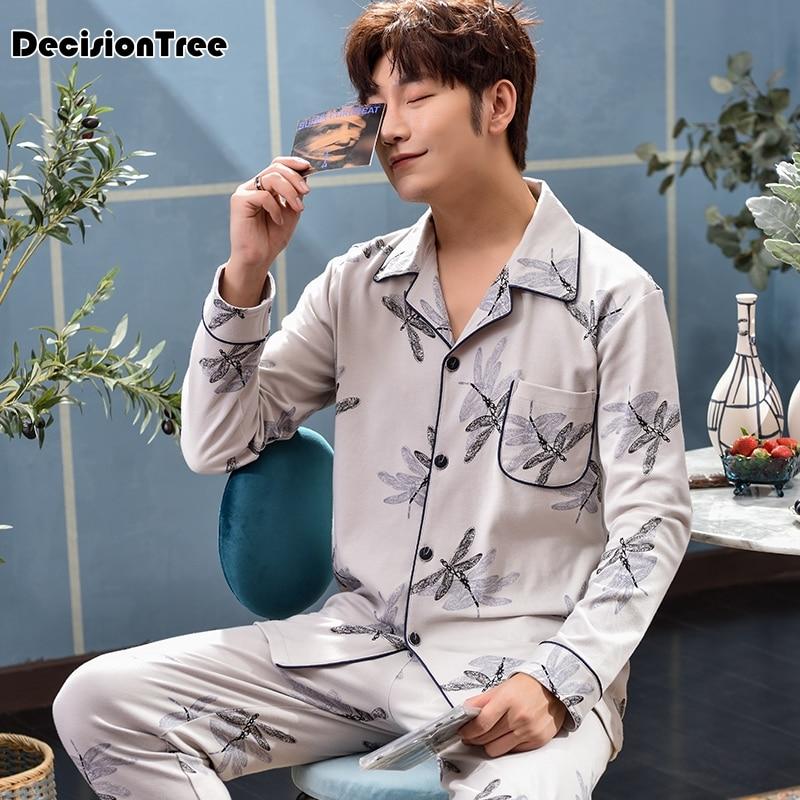 2020 Knitted Cotton Pajamas Sets For Men Comfort Sleepwear Stripe Pyjama Homme Pcs Suit Home Wear Pijama Masculino