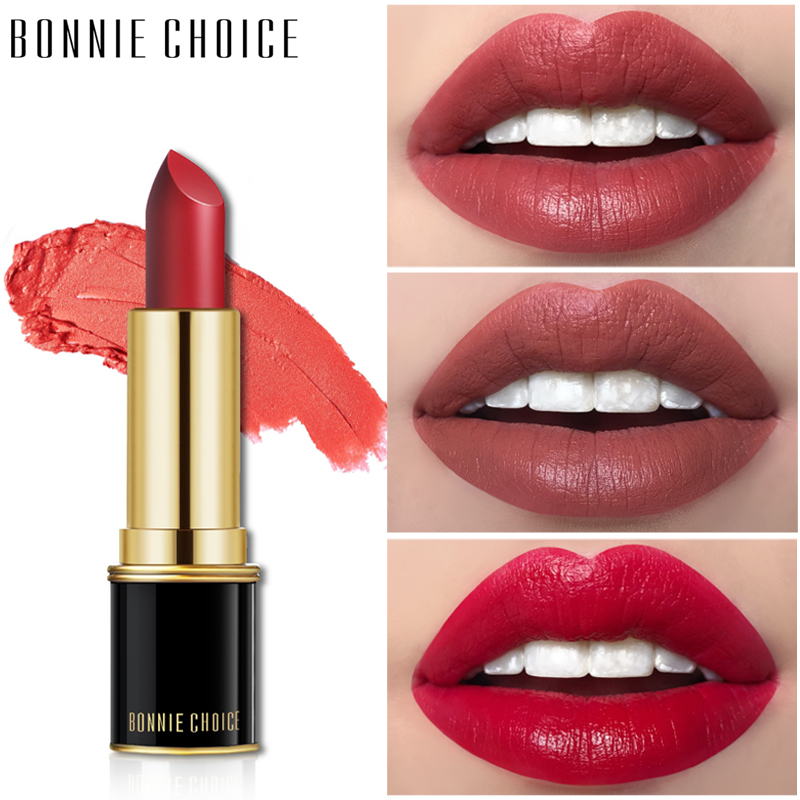 BONNIE CHOICE 1 Pc Matte Velvet Waterproof Lipstick Sexy Red Lips Smooth Long Lasting Moisturizing Makeup Cosmetic Lip