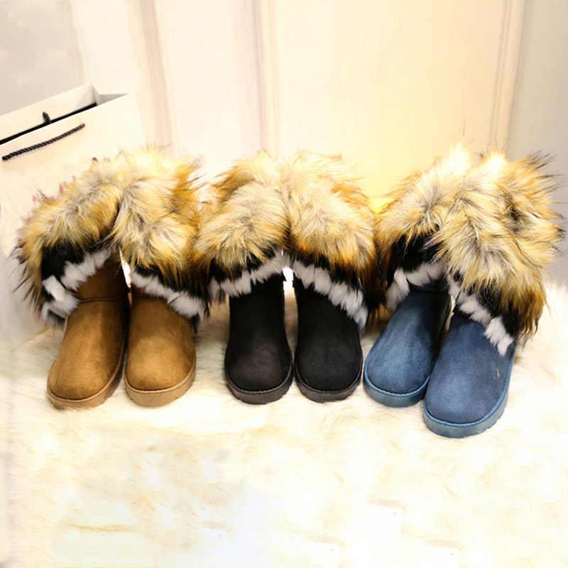 MCCKLE Vrouwen Snowboots Plus Size Faux Fur Winter Enkellaarsjes Naaien Flats Vrouwelijke Comfort Footwear Platform Schoenen Drop Shipping
