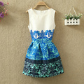 Free shipping Sleeveless vest dress Show thin Retro printed sleeveless dresses ball gown dress