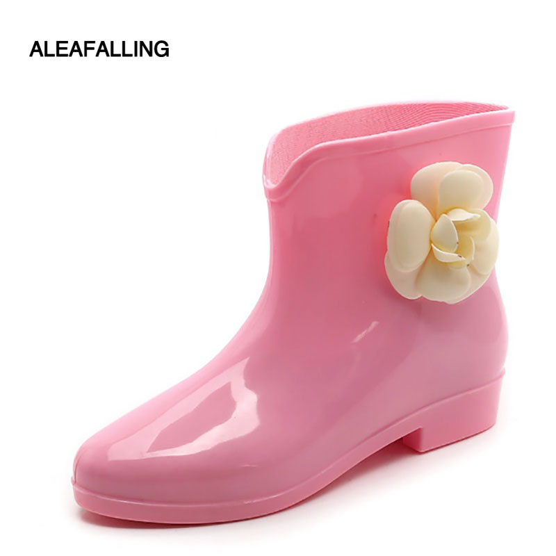 f000cae2d1d9 Aleafalling New Arrival Rain Boots Waterproof Flat With Shoes Woman Rain  Woman Water Rubber Ankle Boots