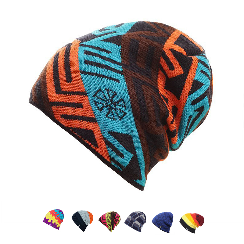 New Brand Winter Warm Wool Snowboard Winter Knit Ski Skating Lot Wool Caps Hats   Skullies     Beanies   For Men Women Gorro Diamond