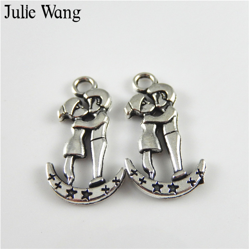 Julie Wang 20PCS Zinc Alloy Antique Silver Kissing Lovers Pendant Charms Jewelry Making Bracelet Necklace DIY Accessories