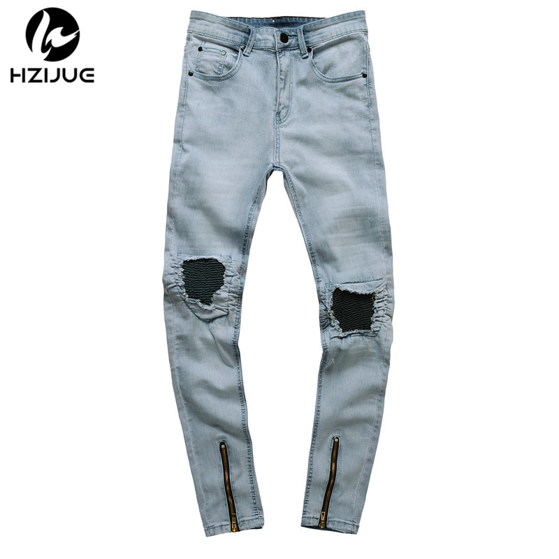HZIJUE denim pants Zipper Skinny Casual Mens Slim Fit Jogger Jeans Snowflake Whitish Was ...