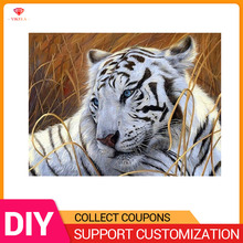 YIKELA Diamond Painting Tiger Embroidery White Animal 5D Diy Kit Accessories Full Drill Round Acrylic Crafts Decor Art Mosaic