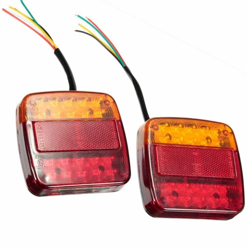2PCS LED Rear Light Tail Light Brake Stop Light Turn Signal Number Plate Lamp For Trailer Truck Recreational Vehicle fashionable bell sleeve v neck chiffon blouse for women