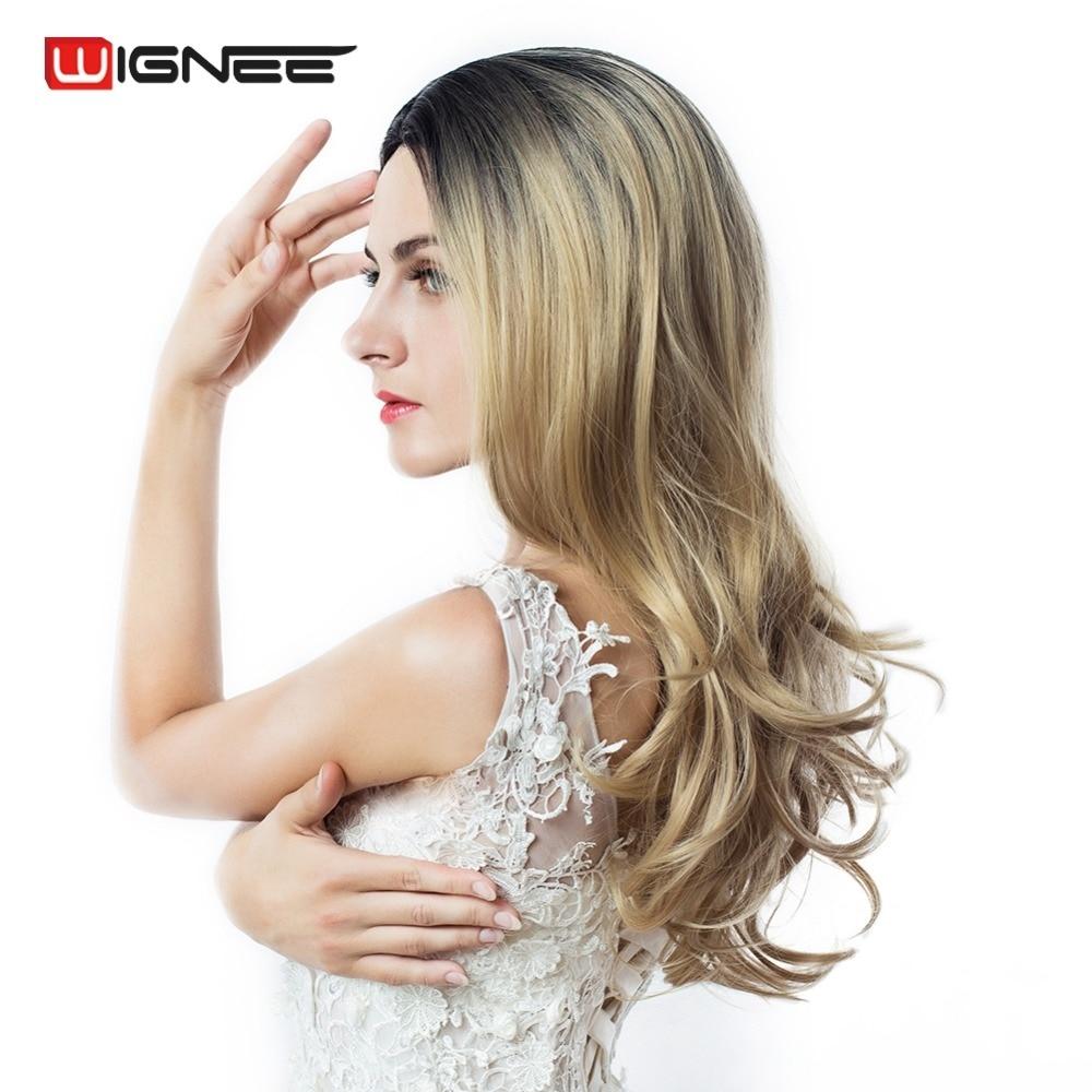 Wignee Hand Made Front Ombre Färg Långblond Syntetisk Paryk För Svart / Vit Kvinnor Hög Temperatur Glueless Cosplay Hair Parykar