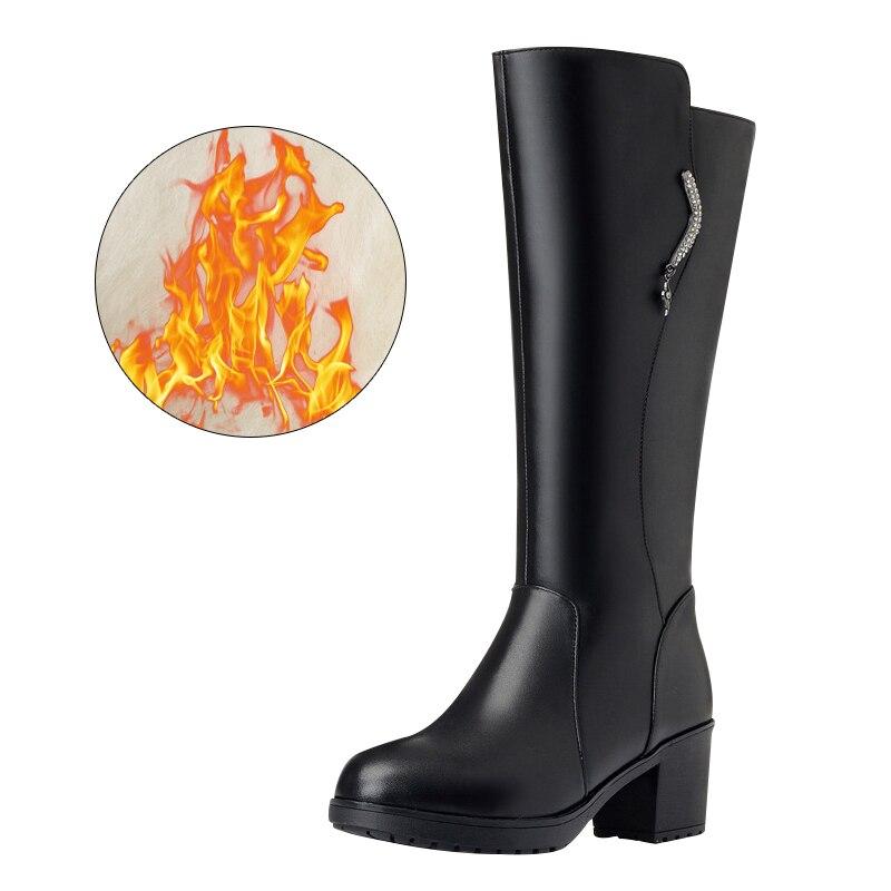 Invierno Zapatos Lining Botas Moda Tiempo Goma Lana Tacón Negro Stivali Prendas black Black Plataforma Lining Sondr De Plush Donna Mujer Alto Wool UxI5Y44