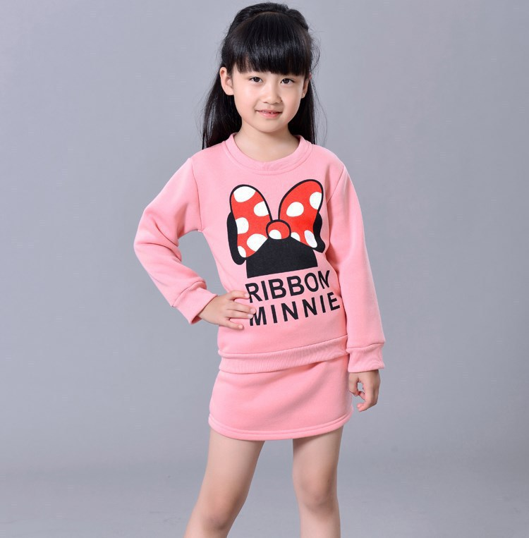 2015 Spring&Autumn new cotton girls sweater suit Long sleeve + skirt two-piece children's clothing set  girls clothes 2-7 years