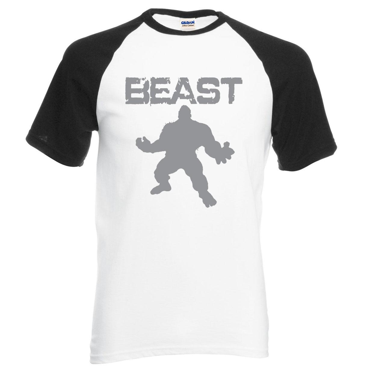 Beast Printed Crossfit Men Tee Shirts 2019 Summer Raglan Sleeve Shirt Men 100% Cotton T Shirt Gyms Muscle Fit Hip Hop Tops Tees