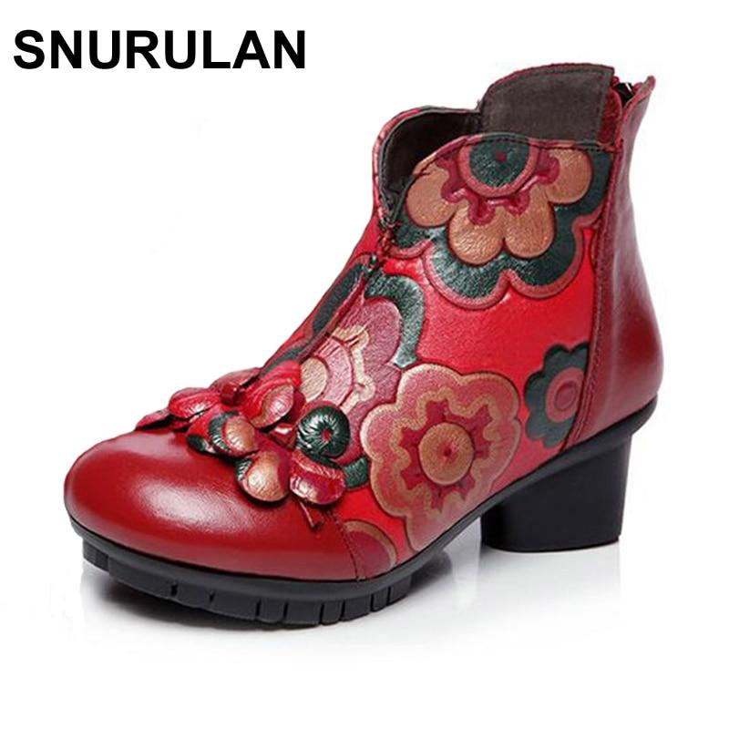 SNURULAN women 2017autumn winter fashion genuine leather medium heel handmade vintage printting flower shoes female short boots