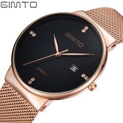 Gimto 2018 Hot Luxury Quartz Watches Men New Gold Black Stainless Steel Hand Watch Waterproof Business Relogio Montre Wristwatch