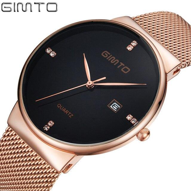 Gimto Real Hot Luxury Quartz Watches Men New Gold Black Stainless Steel Hand Wat