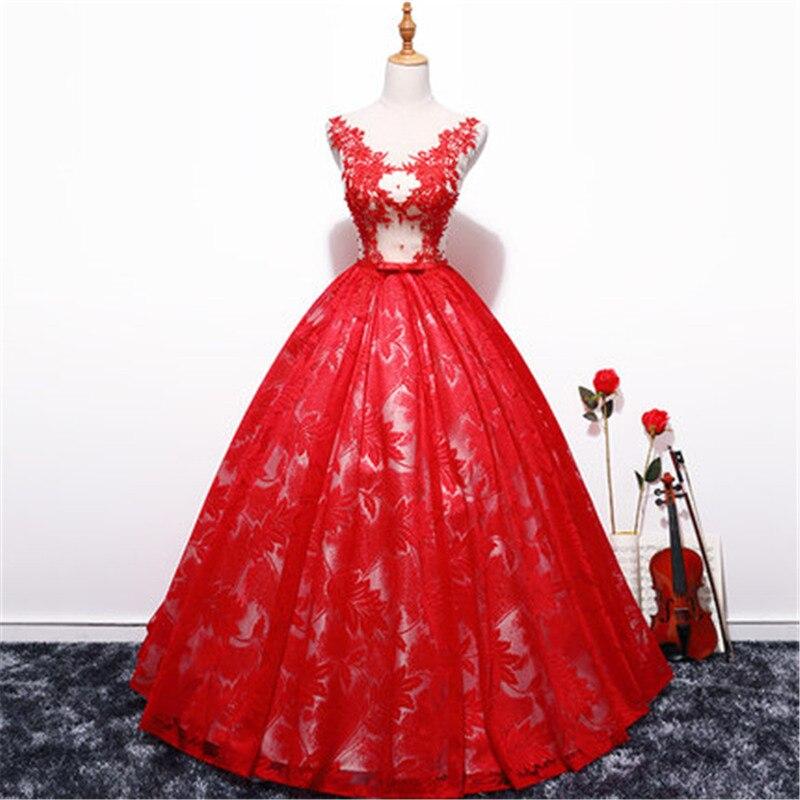 Hot Sale Wedding Dress The Bride Lace Half Elegant Boat Neck Sweet Stereo  Flower Ball Gown Princess Bridal Gown Vestido De NoivaUSD 46.72-54.52 piece 95fc6ed94e72