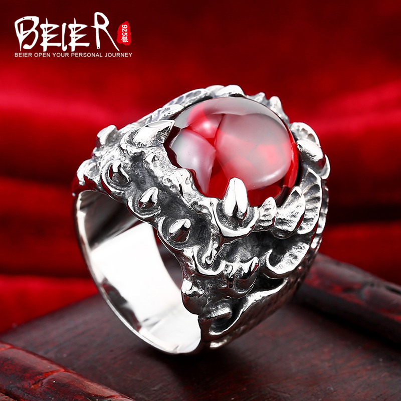 Beier 925 silver sterling jewelry 2015 fashion fashion shiny Zircon dragon claw man ring BR925D0259 beier 925 silver sterling jewelry 2015 men s retro domineering ring animal ring super big dragon man ring d1234