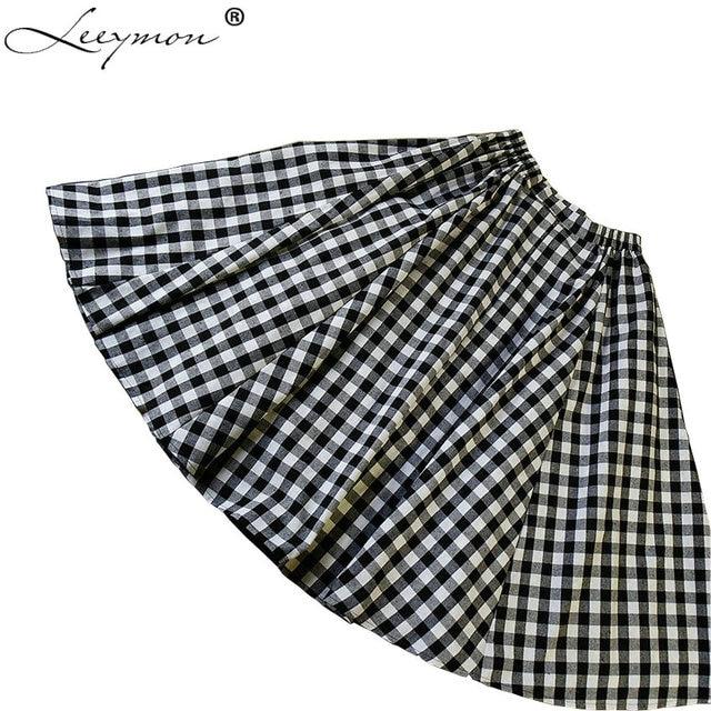 7b5d93421743 Meetstory New Black and White Plaid Skirt Elastic Waist All-Match A Line  Mid-Calf Skirt Female Plaid Skirt 2017 Autumn