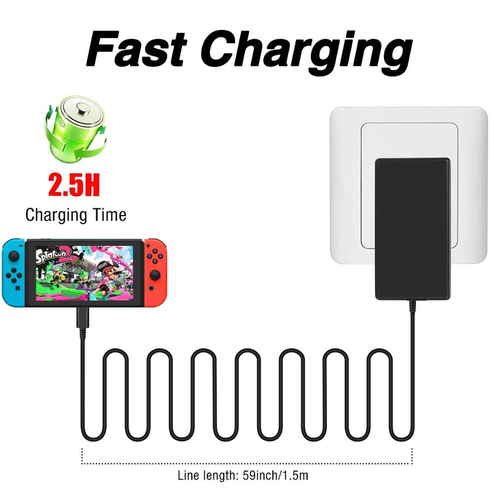 EU/US Plug AC Adapter Charger for Nintend Switch NS 1.5A 2.6A Travel Charger For Switch Charging USB Type C Power Supply