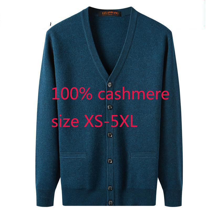 Image 2 - New Arrival High Quality Men 100% Cashmere Thickened Jacket Sweater Casual Computer Knitted V neck Cardigan Men Plus Size XS 5XL-in V-Neck  from Men's Clothing