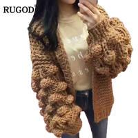 RUGOD New Loose Lantern Sleeve Knitted Cardigan Sweaters Women Fashion Shrug Sweater 2017 Autumn Winter Warm