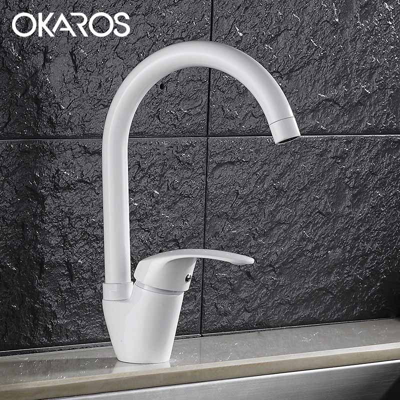 OKAROS Deck Mounted Kitchen Faucet  Sink Basin Faucet Black Cheap White Baked Single Handle Hot Cold Water Tap Mixer Torneira okaros nickel brushed 304 stainless steel kitchen sink faucet deck mounted basin tap cold