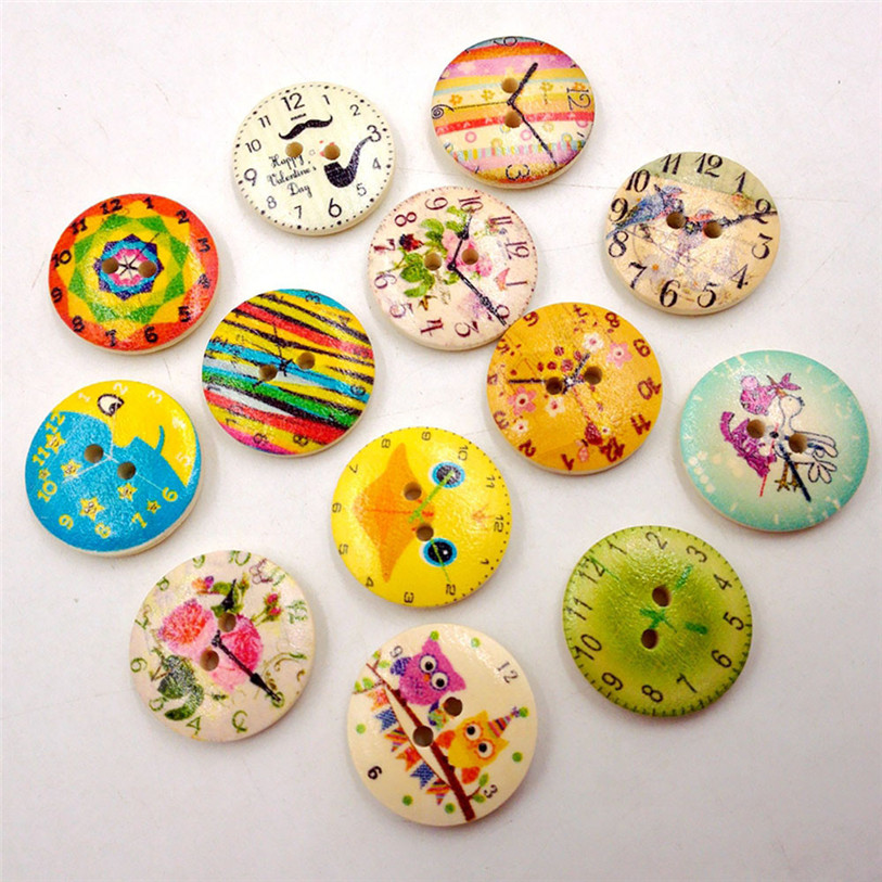 50PC Vintage Wood Clock Sewing Accessories Buttons 2 Holes Sewing Scrapbooking Crafts Sewing Accessories for Clothes Bags 40SP18 (4)