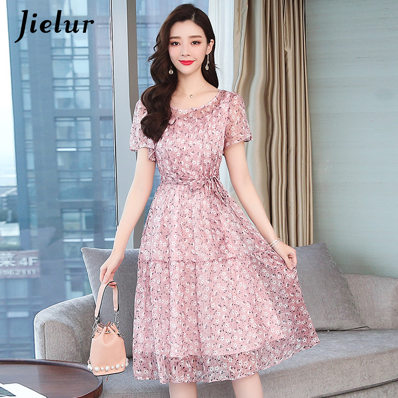Jielur Dress Women Chiffon Big Swing Summer Beach Dress Party Floral Print Short Sleeve Dress Lady Sweet Casual Fashion Vestidos