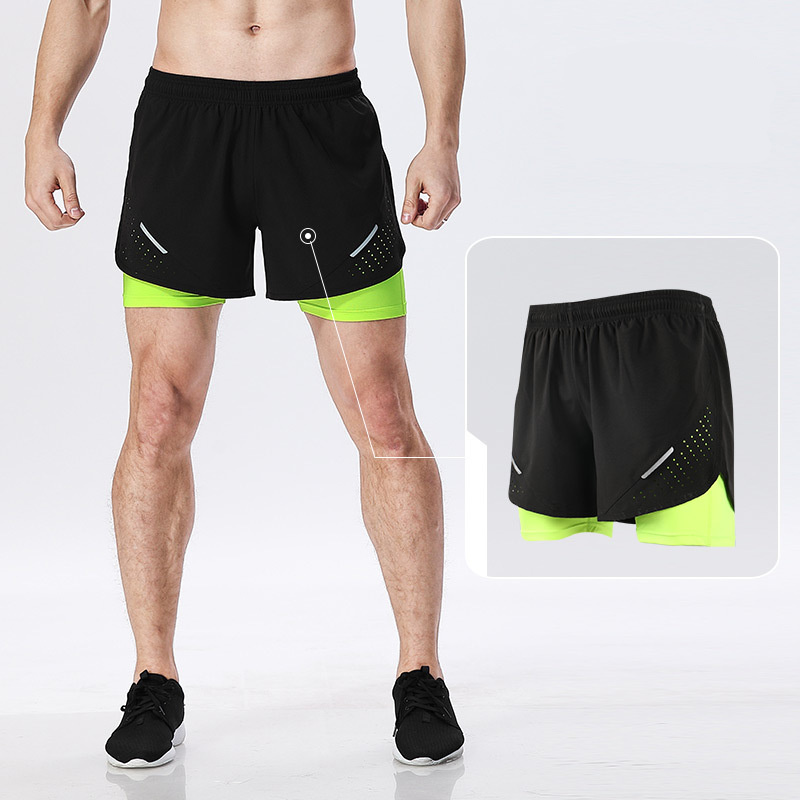 Dos piezas falsas de secado rápido transpirable entrenamiento deportes pantalones cortos correr ciclismo 2 en 1 pantalones cortos con forro más largo